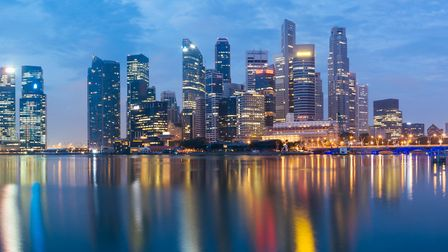 Singapore Central Business District at Dusk.