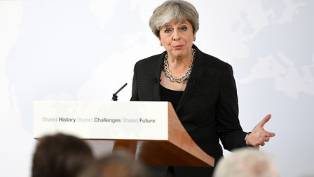 Theresa May delivers a speech in Florence, Italy, where she set out her plans for a transitional per