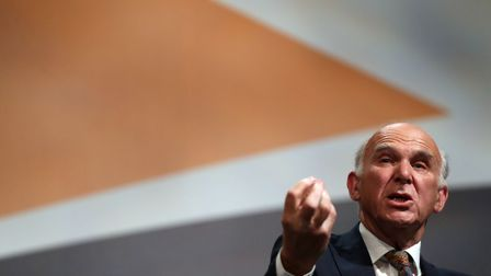 Liberal Democrat leader Sir Vince Cable during a question and answer session during the second day o