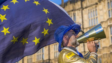 Pro-European Union and anti-Brexit demonstrators protest outside the Houses of Parliament in central