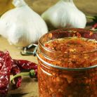 A staple of Mediterranean cuisine, harissa is a blend of garlic, cayenne pepper, olive oil, and herb