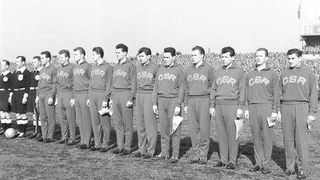 Czechoslovaka squad before a game against Germany in Prague, 1958. Photo: PA.