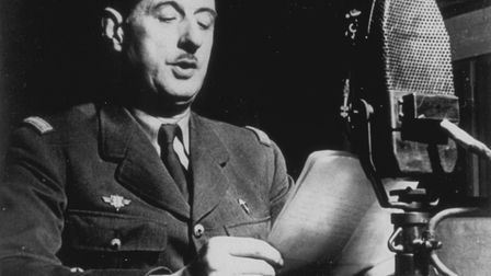 General Charles de Gaulle in London delivering his historic speech asking the French people to take
