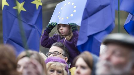 People gather at a Rally for Europe event on Edinburgh's Royal Mile, which is part of the European M