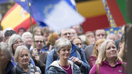 People waved flags from many EU nations at the protest in Edinburgh