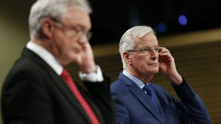 Britain's Brexit Secretary David Davis and European Union chief negotiator Michel Barnier