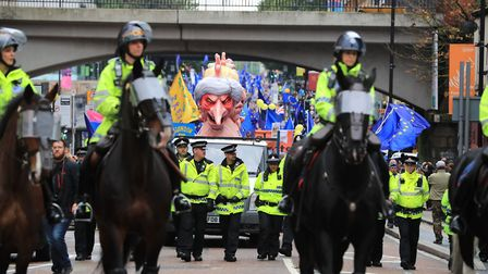 The Stop Brexit march makes its way to the Conservative party conference at the Manchester Central C