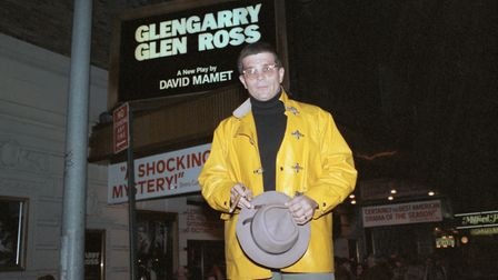 David Mamet standing outside a theatre showing his play, Glengarry Glen Ross, in 1984. Photo: Bettma