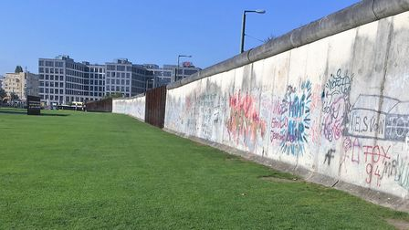 A surviving section of the Berlin Wall, which is now in a memorial park.