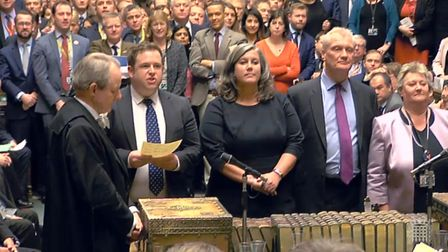 MPs return their result in the House of Commons where the Government has suffered its first defeat o