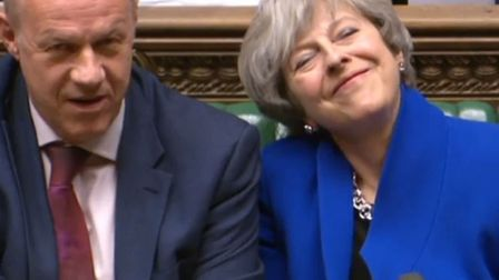 Prime Minister Theresa May alongside Damian Green who has resigned as First Secretary of State, amid