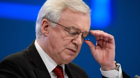 Secretary of State for Exiting the European Union David Davis gives a speech during the Conservative