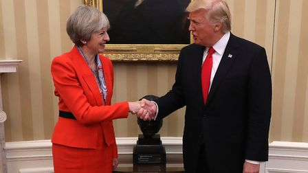 British Prime Minister Theresa May with US President Donald Trump (Photo by Christopher Furlong/Gett