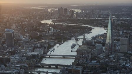 General aerial view of The Shard, Tower Bridge, 20 Fenchurch street, central London and Canary Wharf