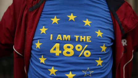 A campaigner wearing a t-shirt in support of the pro-Remain cause. (Picture: Yui Mok)