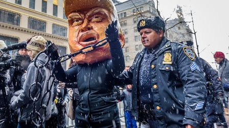 """NYPD removes """"Arrested Trump"""" from Trump Tower - Backbone Campaign and NYC allies marked the kickoff"""
