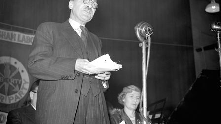 Then Prime Minister Clement Attlee arguing that Soviet Russian imperialism made the re-arming of Bri