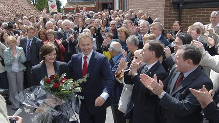 Prime Minister Tony Blair leaves Trimdon Labour Club in his Sedgefield constituency today after anno