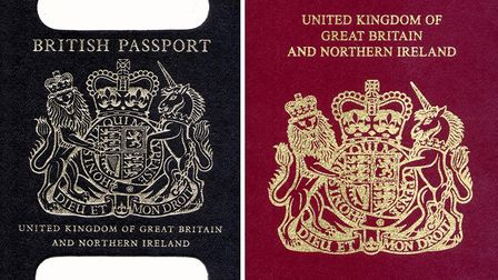 Composite picture of the former British Passport (left) and the current version (right). Picture: PA Politics.