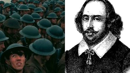 (L-R): An image from the film Dunkirk, and playwright William Shakespeare. Photo: Cover Images/Archa
