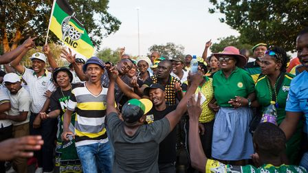 Supporters of Cyril Ramaphosa in Johannesburg last month. Picture: WIKUS DE WET/AFP/Getty Images