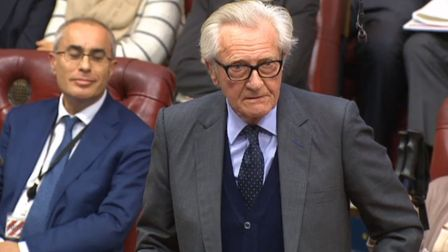 Lord Heseltine speaks in the House of Lords, London, as they debate the Brexit Bill.