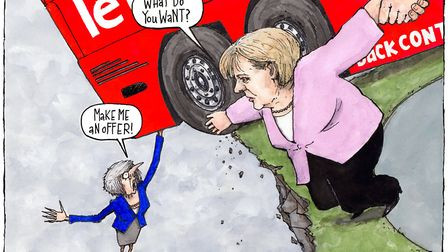 """""""Make me an offer"""", Theresa May is supposed to have told Chancellor Merkel in Davos. Picture: Gary B"""