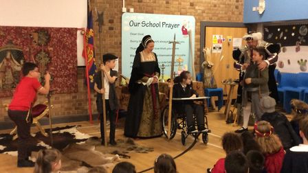 Henry VIII and his wife Anne Boleyn visited Peterhouse Church of England Primary Academy.Picture sup