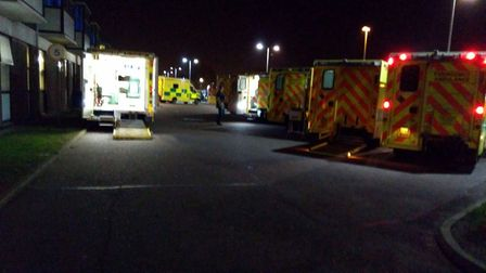 Ambulances queued up outside the James Paget University Hospital. Picture: Submitted