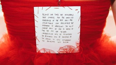 Lorde's dress for the Grammys had an empowerment essay hand-stitched into its bodice. Picture: Insta