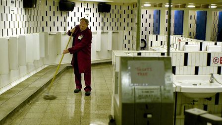 The Market Gates public toilet block being cleaned by council staff in 2003.