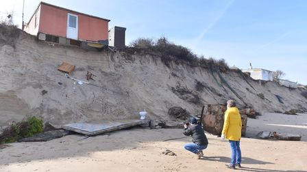 The erosion has seen part of home tumble onto the beach at Hemsby.Picture: Nick Butcher