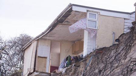 Homes on The Marrams in Hemsby are on the verge of falling into the sea due to coastal erosion.Picture: Nick Butcher