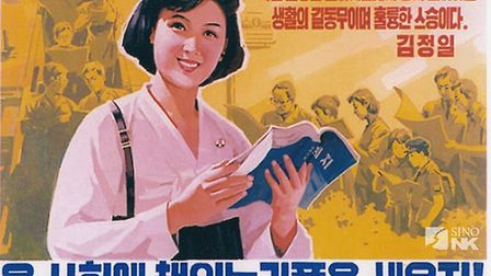 A North Korean propaganda image proclaims 'let's establish the habit of reading all over the country