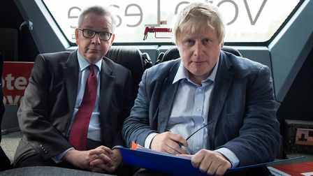 Michael Gove and Boris Johnson, pictured on a Leave campaign bus, make up two thirds of the Sunday T