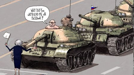 Cyber warfare and cuts to armed forces leave UK vulnerable to Russian attack. Illustration: Gary Bar