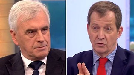 Alastair Campbell and John McDonnell clashed over Brexit on Peston on Sunday. Picture: ITV