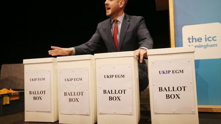Interim Party Chairman Paul Oakden with ballot boxes ready to be counted, during the UKIP EGM to dec