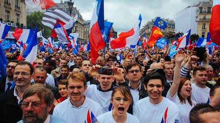 Young supporters of France's far-right National Front party, who represent growing nationalist senti