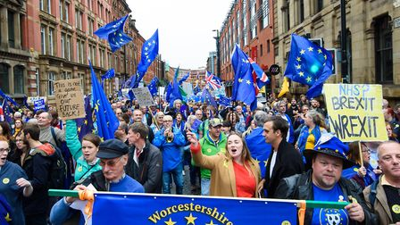 Anti-Brexit protesters take part in a Stop Brexit March in Manchester. Photograph: Matt Crossick/EMP
