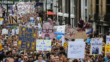 Remain supporters in London, as they take part in the March for Europe rally to Parliament Square. P