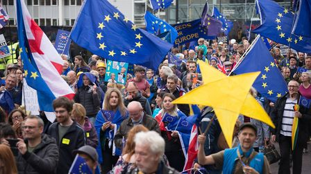 People participate in the '#StopBrexit' demonstration in Manchester. Photo by Jonathan Nicholson/Nur