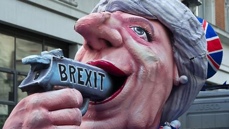 An anti-Brexit protest outside the BBC as Theresa May appears on The One Show during the 2017 Genera