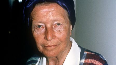The French author Simone de Beauvoir in August 1985 during one vacation in Kitzbuehel in Austria