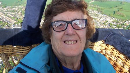 Betty Brown goes in a hot air balloon in Stroud that was specially adapted to take a wheelchair.
