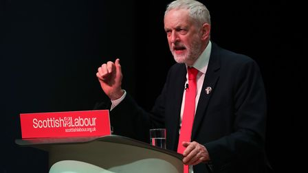 Labour leader Jeremy Corbyn speaking during the Scottish Labour conference in Caird Hall, Dundee.