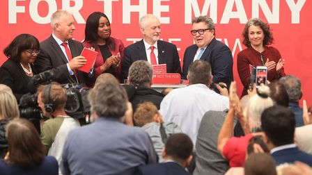 Jeremy Corbyn (centre) with shadow cabinet members (left to right) Diane Abbott, Ian Lavery, Kate Os