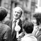 Dick Taverne, who was Labour MP for Lincoln until his resignation in 1973, pictured canvassing in th