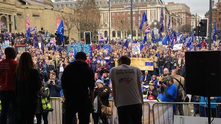 Great Northern March against Brexit in Leeds. Photograph: Richard Corbett