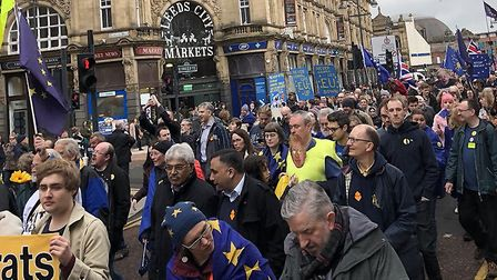 Great Northern March against Brexit in Leeds. Photograph: Sean McCarthy